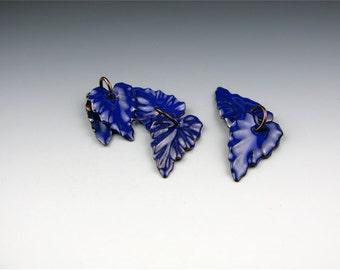 Enameled Ivy Leaf / Cobalt enamel / Made to order