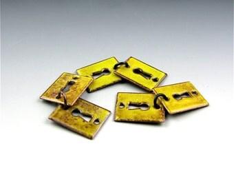 Enameled Key Hole  / Yellow Enamel / Made to order