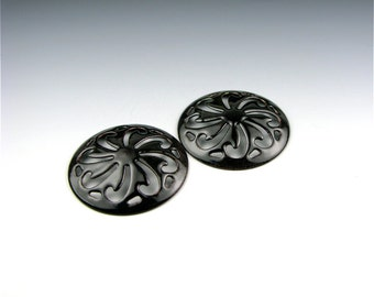 Enameled Pinwheel Focal or Cab /  Black Enamel / Made to order