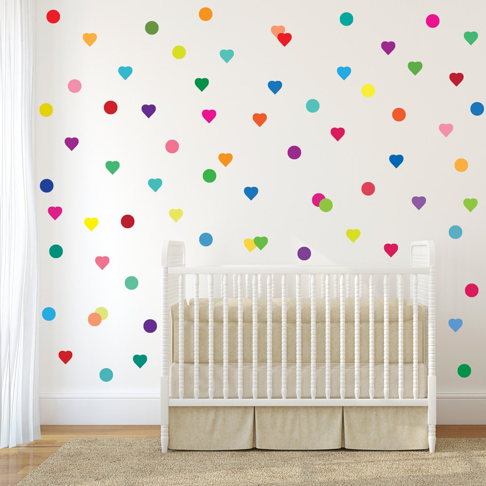 72 confetti rainbow hearts and polka dot wall decals. Black Bedroom Furniture Sets. Home Design Ideas