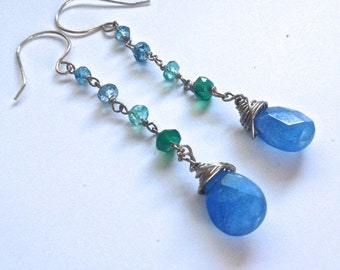 Long Dangle Gemstone Earrings, Chalcedony, Apatite, Green Onyx, London Blue Topaz Earrings,