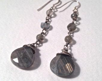 Labradorite Earrings, Wire Wrapped Gemstone Sterling Silver Dangle Earrings