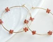 Garnet Hoop Earrings, January Birthstone Jewrlry, Large Earrings, Gold Filled