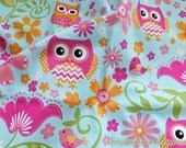 SALE CLEARANCE - 1 Yard Owl Hoot Collection, Spring Pink Orange Hoot Owls Pink Birds On Shabby Daisy Garden-US Cotton Quilting Fabric