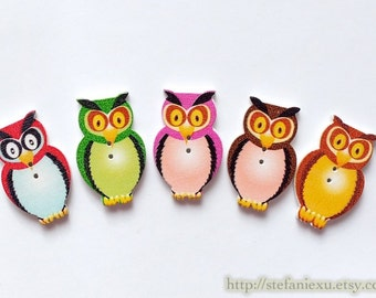 5PCS Wooden Buttons, Printed Color - Lovely Colorful Big Eye Hoot Owls, Choose Color Or Mix Color (5PCS)