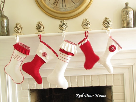 SALE Linen Christmas Stocking Red White Set of 5