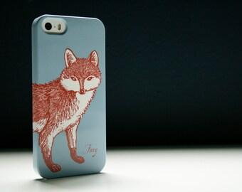 Foxy Fox Phone Case - Sky Blue iPhone 6 Case, Fox iPhone 5S Case, Samsung Galaxy S6 Edge Cover, iPhone 7 Case, iPhone 6S Plus, Woodland