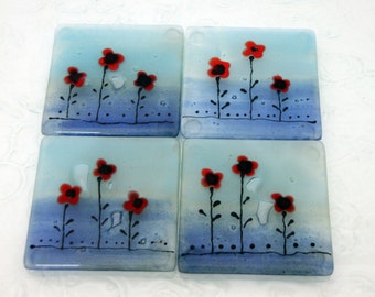 glass Coaster set,  Red Poppies in Calm Aqua blue landscape, Fused Glass coaster set of 4