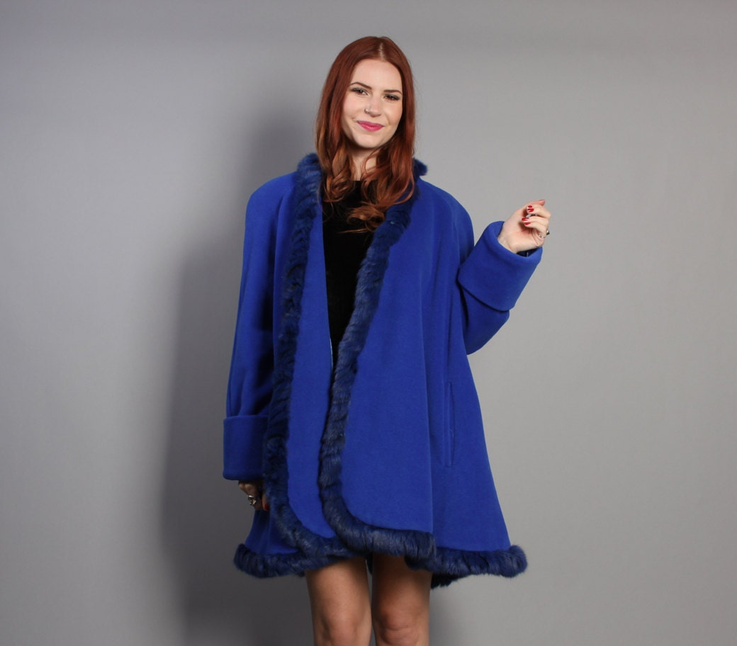 90s Cobalt BLUE Cashmere Swing COAT / Genuine Dyed Rabbit FUR Trim