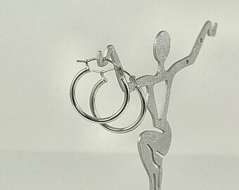 24mm Sterling Silver Tube Hoop Earrings with Latchback 1 Pair