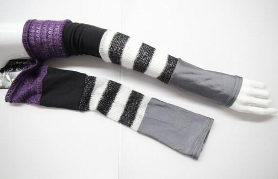 Long multicolored sleeves by Plastik Wrap.OOAK.