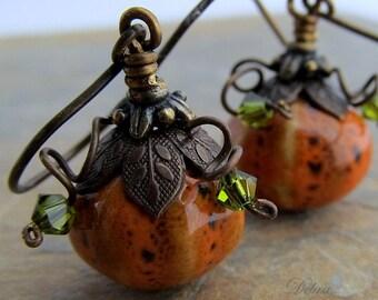 Orange Pumpkin earrings, Gourd earrings,  Antiqued Brass Vintage Style