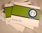 Baby Boy Themed Footprints Blank Thank You Cards Set of 10