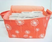 Super Size 4 inch Coupon Organizer / Budget Organizer Holder Box - Attaches to Your Shopping Cart - Coral Dandelion  - Coral