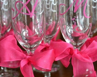 Set of Eleven Elegant Decorative Sliver and Bright Pink Celebration Party Favor Wine Champange Bridesmaid Wedding Glasses