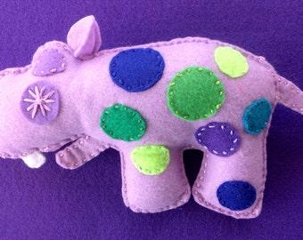 Hildie the Hippo plush baby rattle / Ecofriendly