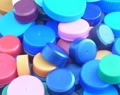 50 Reclaimed Plastic Bottle Caps // Assorted Plastic Screw Tops // Upcycle and Repurpose Supply // Destash Mix