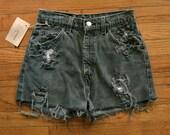 Vintage Levi's Cut Off Denim Shorts / Black Gray Distressed Jean Shorts / size 8 / 27 inch waist