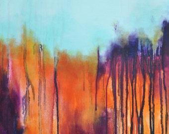 "Original Abstract Painting, Modern Wall Art , Rainbow Aqua Colors 20x16"""
