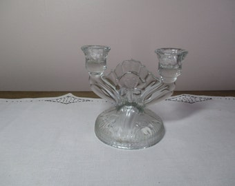 Vintage 30s Glass Candle Holder IRIS AND HERRINGBONE Clear Jeanette