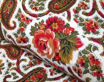 Vintage Fabric 60s PAISLEY ROSE Yardage Olive, Red, White