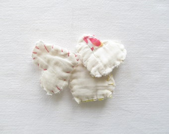 Wee Hearts . Antique Quilt Pieces . Love .  Wedding .