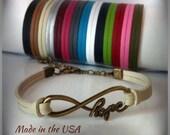 Infinity Hope bracelet, Charm bracelet, Friendship bracelet, Faith bracelet, Leather bracelet