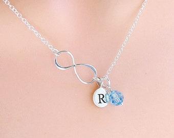 Silver Personalized Infinity Necklace, custom birthstone crystal, custom initial, best friend gift, mom jewelry,