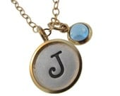 Personalized 14K Gold Rimmed Silver Charm with Hanging Cabochon Hand Stamped Initial Custom Engraved Mommy Necklace Artisan Handmade Jewelry