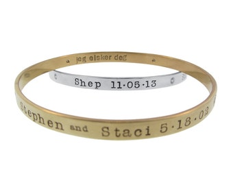 Stacking Diamond Gold Bangle Bracelets Hand Stamped 14K and Sterling Silver Names Dates Custom Personalized Mom Jewelry Engraved Artisan