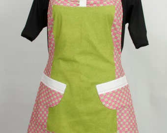Plus size Apron- Hearts lime green Pink and White