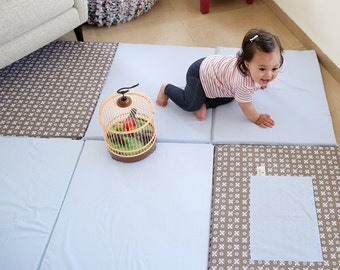 Baby  play mat  in brown blue gray