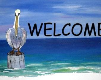 Pelican Beach Welcome indoor-outdoor Floor Mat. Available in 3 sizes