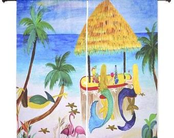 Mermaids Beach Tiki Bar shear curtains