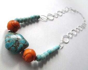 Orange turquoise long necklace, large link silver chain, turquoise and orange beaded necklace