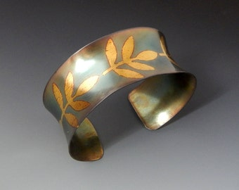 Vines -  Anticlastic Keum Boo Flower Cuff