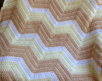 new chevron zig zag ripple baby blanket afghan wrap crochet knit wheelchair stripes VANNA WHITE yarn beige tan handmade in USA