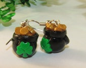 St. Patrick's Day POT of GOLD Dangle Drop Earrings - polymer clay holiday jewelry