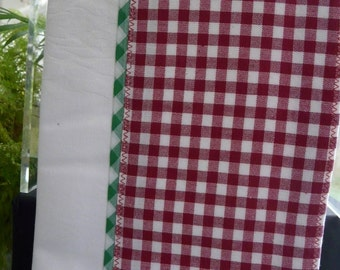 Maroon gingham checks with green piping
