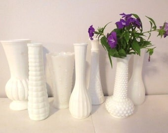 Vintage Taller Milk Glass Vases - Instant Collection wedding or bridal decor 7 pieces