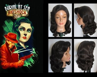 Bioshock Elizabeth vintage noir wig Burial at Sea cosplay costume MADE TO ORDER