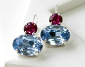 Sparkling Light Sapphire Blue and Fuchsia Swarovski Crystal Dangle Leverback Earrings in Silver