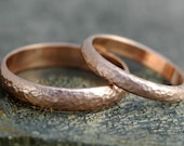 His and Hers 14k Gold Wedding Band Set- Custom Made Recycled Gold Wide Ring and Thin Ring Set