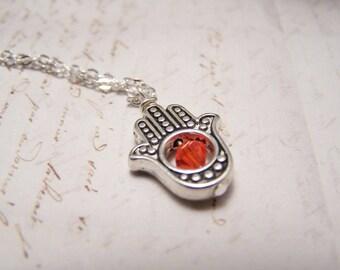 Orange Hamsa Necklace. Silver Finish. Luck. Health. Good Fortune