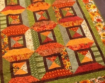 Fall Harvest Handmade Lap Ring Around the Rosies Quilt 50 x 62