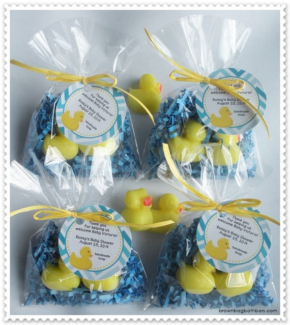 Duck Rubber Ducky Duckie Duckling Party Shower Favors Handmade Soap (20 complete favors with tags-40 soaps)
