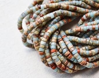 Natural Blue Impression Jasper Small Heishi Tire Beads 2x4mm or 3x6 15 inch strand