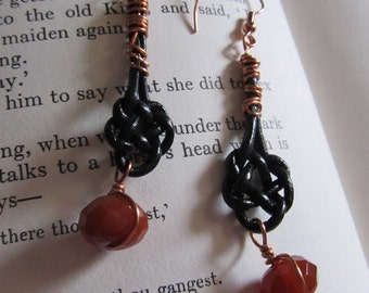 Item 2210 Red Agate Double Coin Knot Earrings