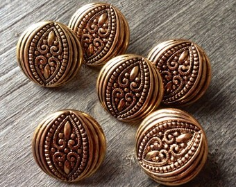 6 Ornate Antiqued Gold Buttons