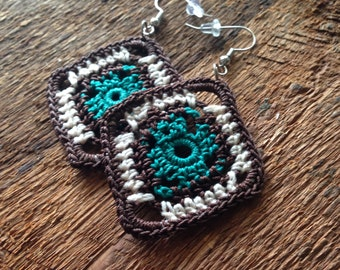 Funky Aztec Design Crochet earrings in Brown, Teal and Cream